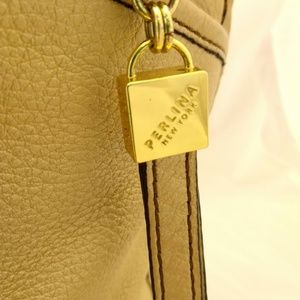 Perlina Bags - Perlina Shoulder Handbag Large Leather Muted Gold